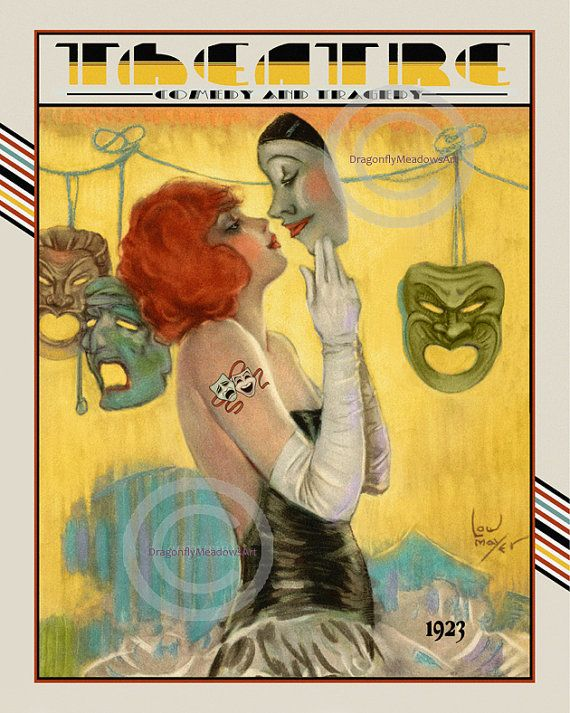 Art Deco Theatre Print, Girl kissing Pierrot, comedy and tragedy ...