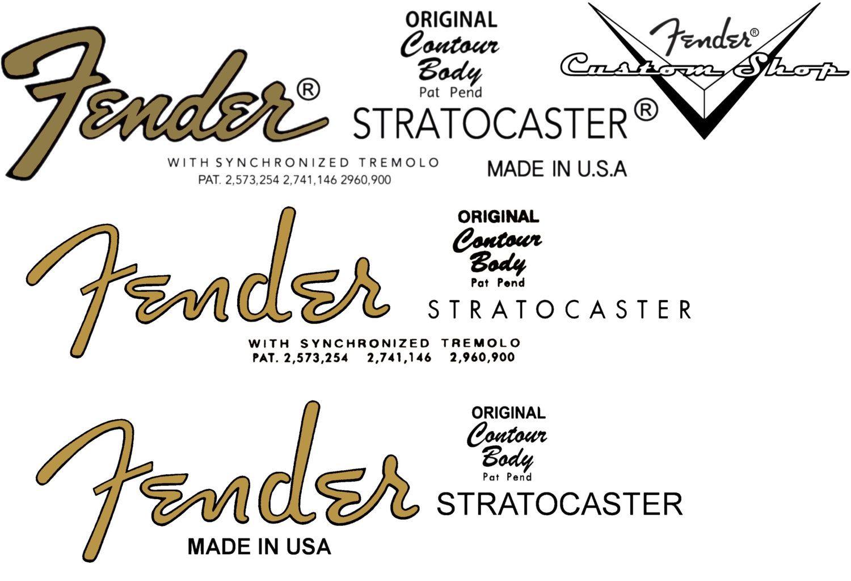 Three Assorted Strat Waterslide Headstock Decals Guitar Logo Fender Stratocaster Fender Guitars
