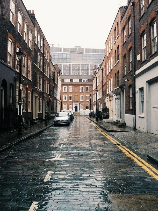 A rainsoaked street in east London x London rain, East