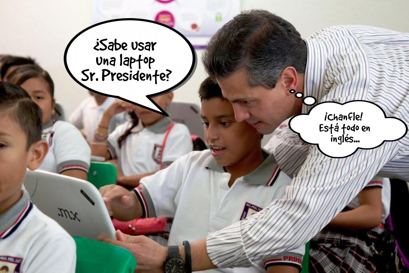 #Humor Nuestro ilustre #Presidente de #Mexico  Enrique Peña Nieto #EPN visitó a los niños del programa #MiCompuMX que recibieron #Minilaptops obsoletas y caras... vía @Candidman