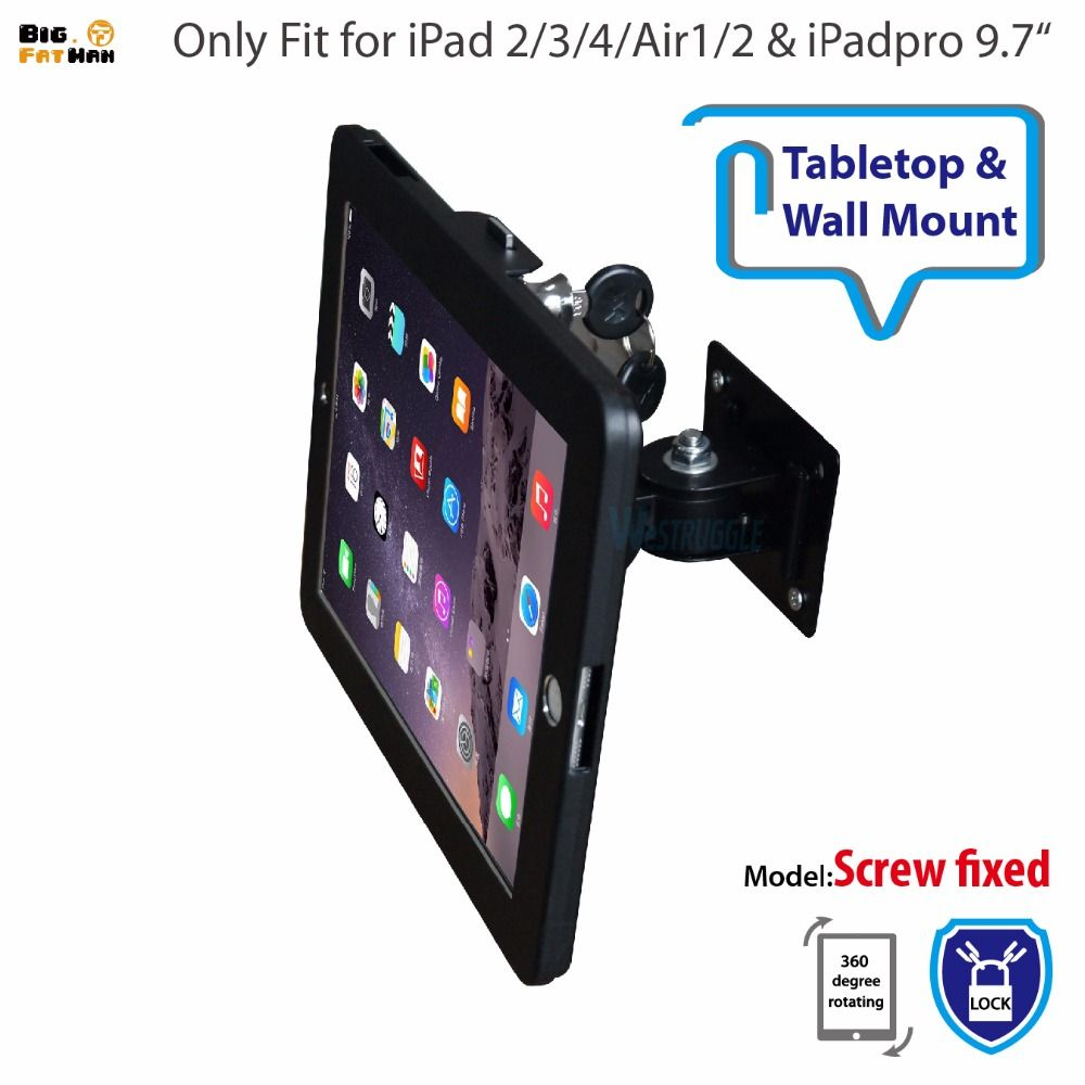 Fit For Ipad 2 3 4 Air Pro Wall Mount Metal Case For Ipad Stand Display Bracket Tablet Pc Lock Holder Support Adjust Th Ipad Stand Ipad Case Tablet Accessories