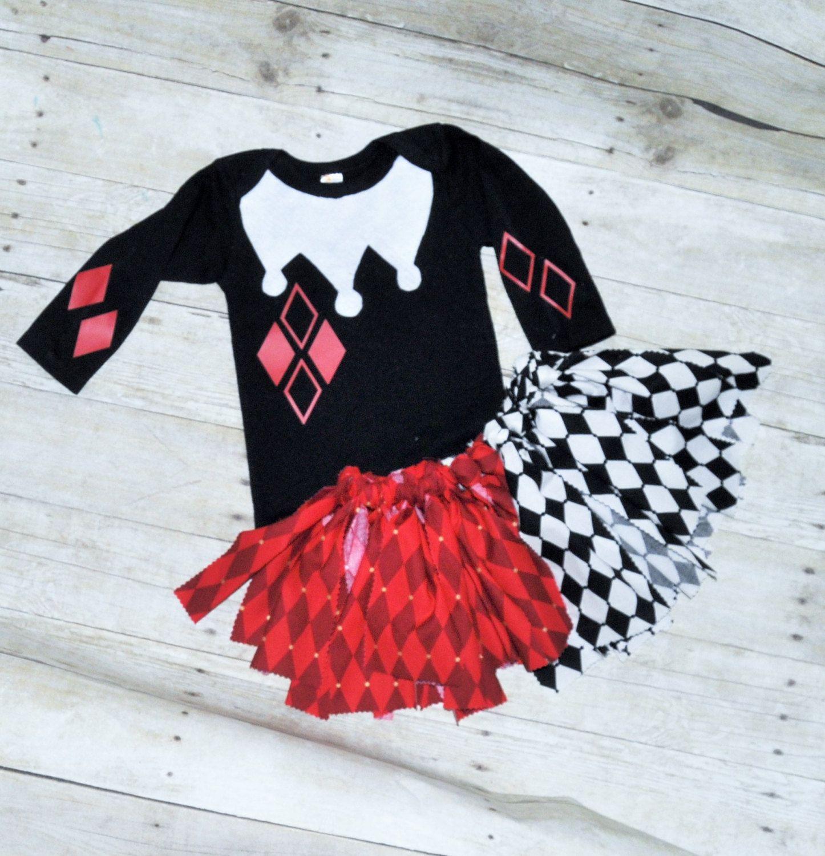 SALE baby girl/toddler harley quinn costume, harley quinn rag tutu ...