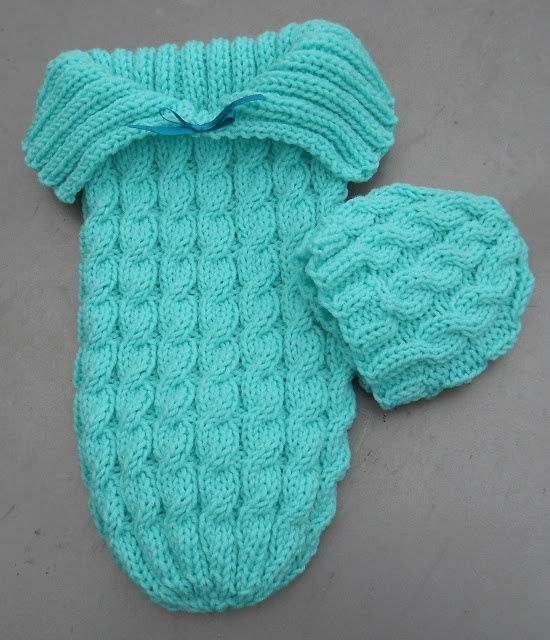 Cozy in Cables sleep sack and hat pattern. | Bimbi | Pinterest ...