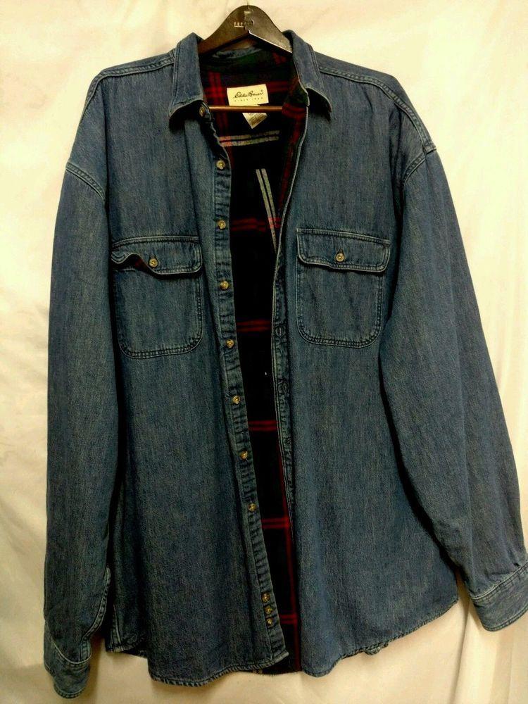 e0b4c9695f1 Eddie Bauer Denim Blue Jean Shirt Flannel Lined Jacket Men Sz XXL tall EUC  warm