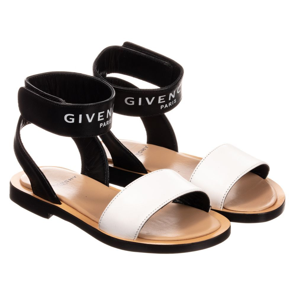 8b3411c06 Girls luxury black and white sandals from Givenchy Kids. Made in soft  leather