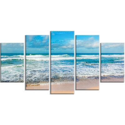 Designart Indian Ocean Panoramic View 5 Piece Photographic Print On Wrapped Canvas Set Design Art Beach Wall Art Canvas Set