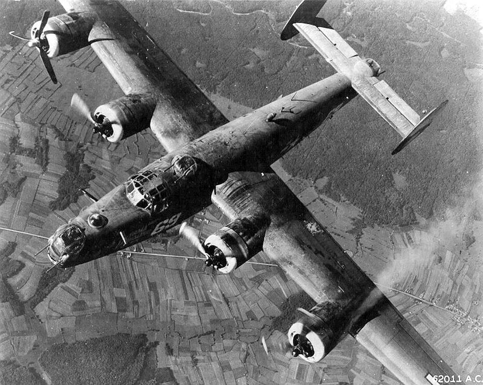 1944 A B24, damaged over Munich. Vintage aircraft