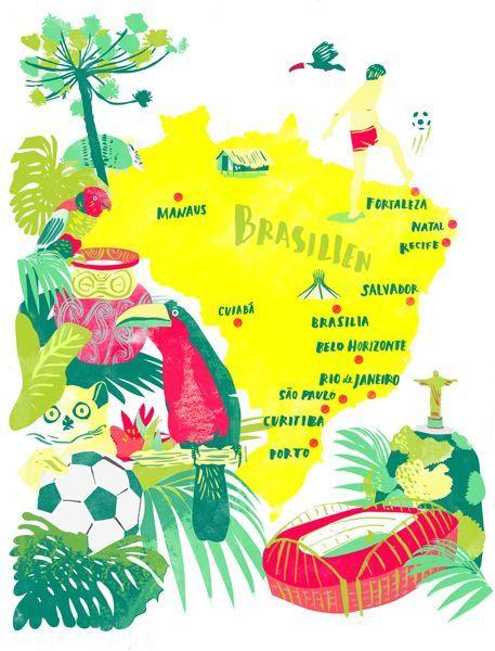 Brasil Illustrated Map Recherche Google Pinteres - Brazil map illustration