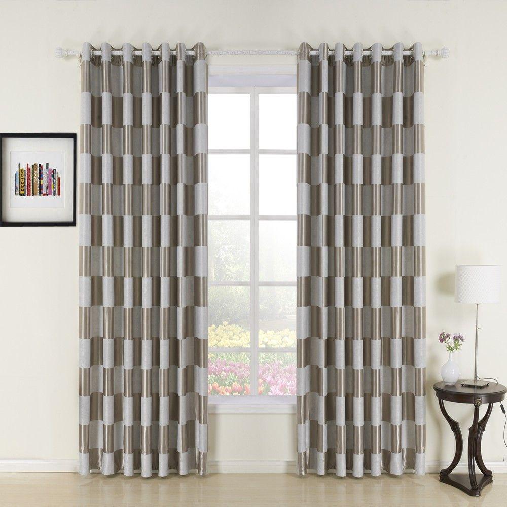 Plaid Check Jacquard Polyester Room Darkening Curtain