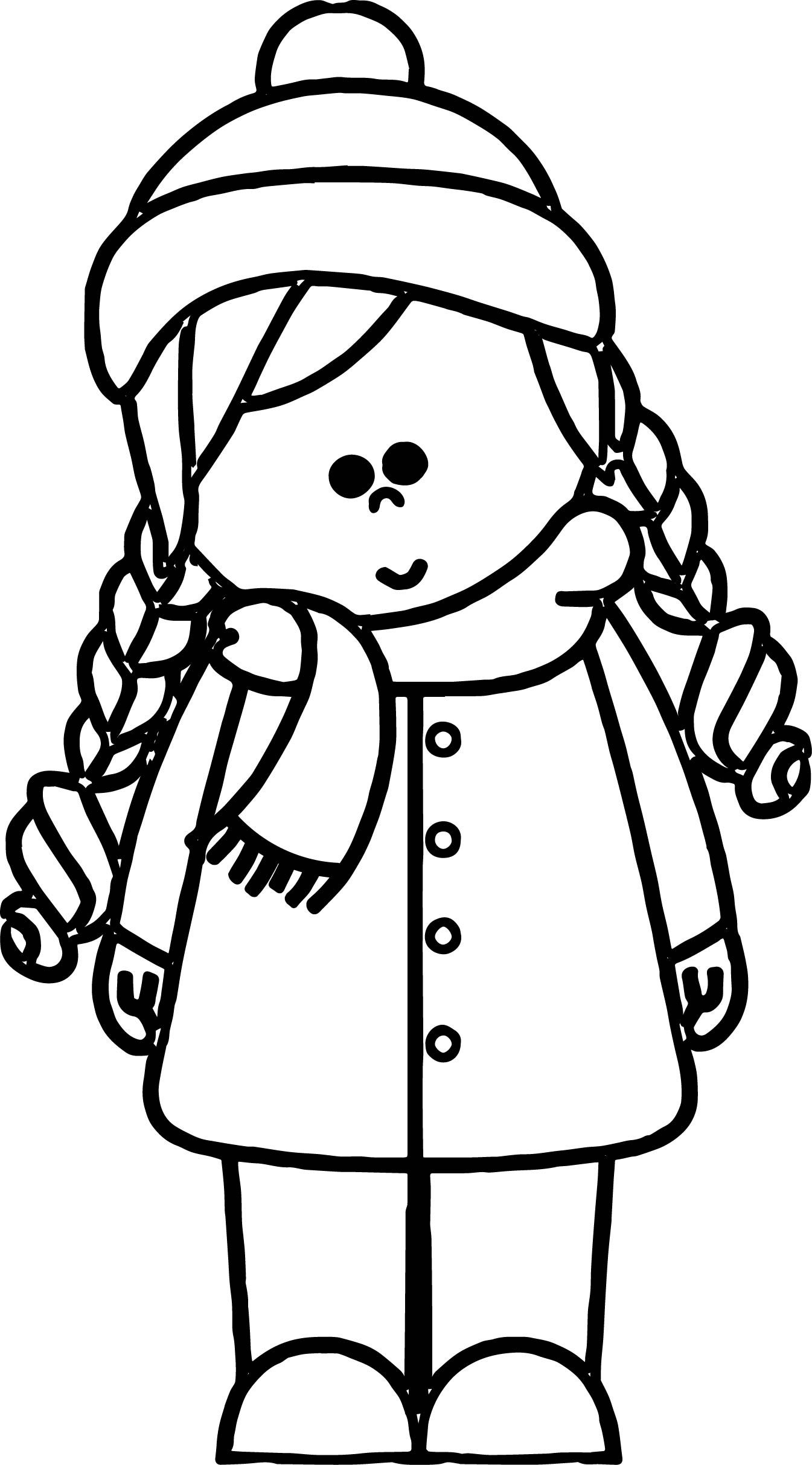 Nice Cold Weather Girl Kids Coloring Page