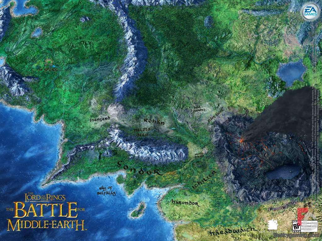 lord of the rings map of middle earth  Lord Of The Rings  Battle