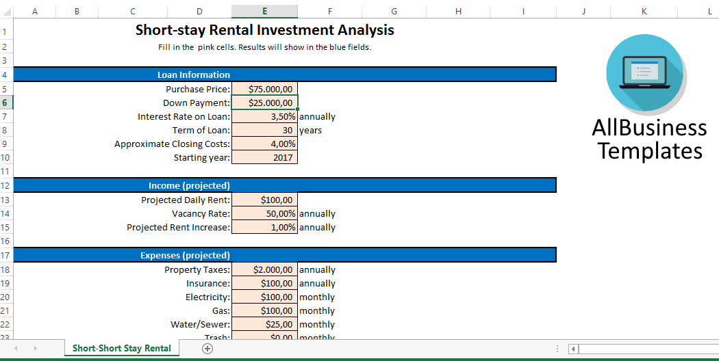 ShortStay Rental Investment Analysis Sheet  Shortstay Rental