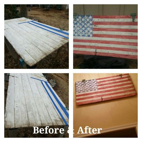 An Old Barn Door Before After A Rustic American Flag Hanging In A Two Story Foyer Old Barn Doors Rustic American Flag Barn Door