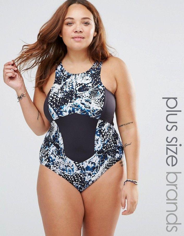 44b6e8dafc4 Plus Size Robyn Lawley Broken Wings Halter Neck Swimsuit  plussizeswimwear   fatkini