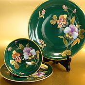 Crockery manual work. Fair Masters - handmade tea triple gold pansies Germany 3. Handmade.