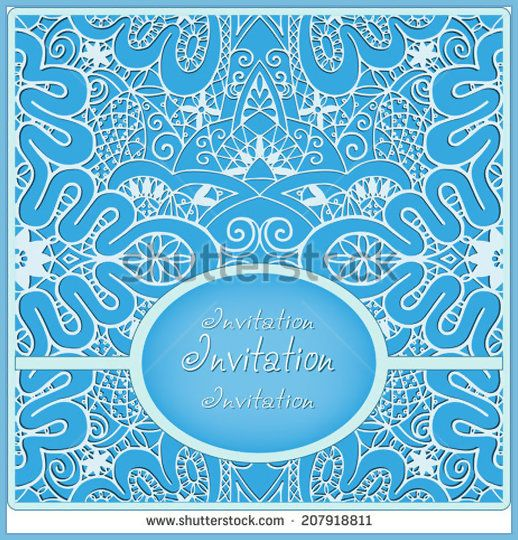 Abstract background, lace frame border pattern, wedding invitation card design, floral and geometric ornament, hand drawn artwork, vector illustration white on blue