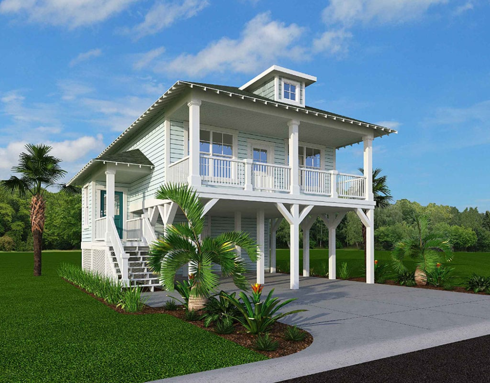 Elevated Piling And Stilt House Plans Page 18 Of 55 Coastal Home Plans In 2020 Beach Cottage House Plans House On Stilts Beach Cottage Decor