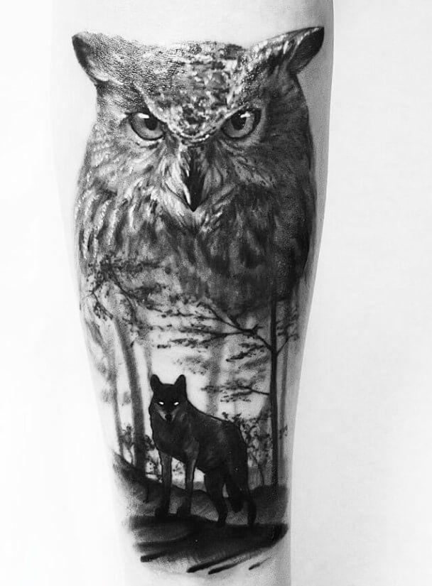 12 Best Wolf And Owl Tattoo Ideas Petpress In 2020 Owl Tattoo Chest Owl Feather Tattoos Owl Tattoo Drawings