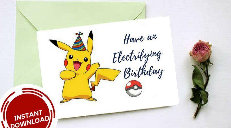 Have An Electrifying Birthday Happy Birthday Birthday Card Pikachu Card Pikachu Birthday Pokemon Card Pokemon Birthday Card Birthday Cards Cards