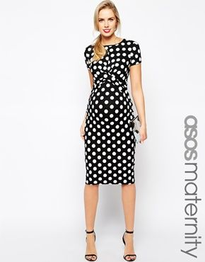 Red and black polka dot maternity dress