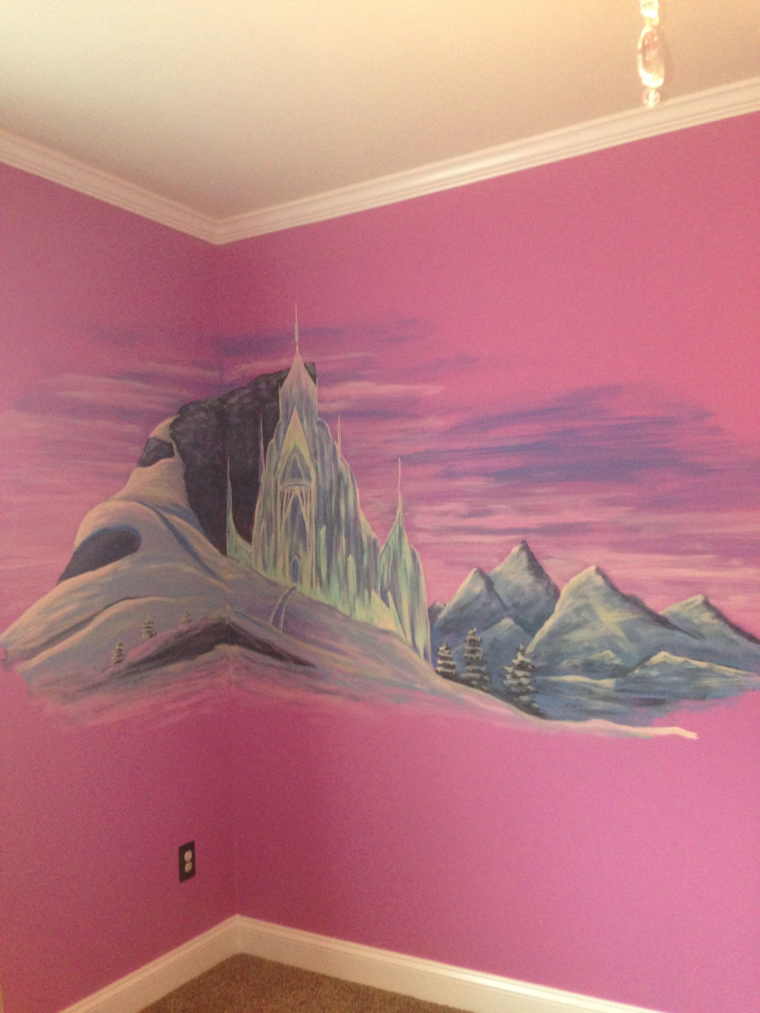 Schloss Schlafzimmer Modern Frozen Mural On My Daughters Wall Elsa S Castle Projects To Try