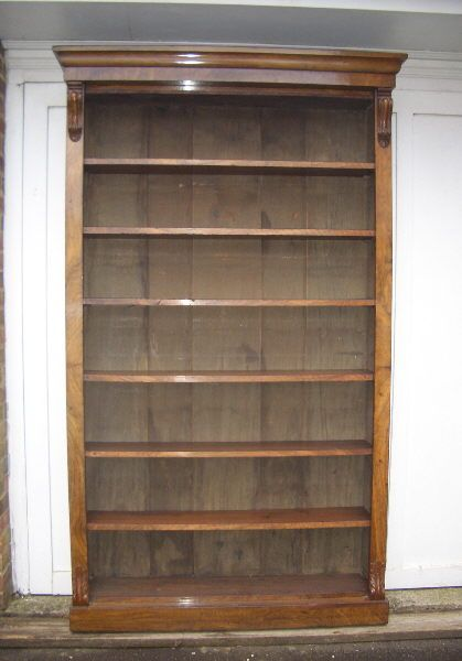 Antique Victorian Large Bookcase Full Height Walnut Open With Adjule Shelves