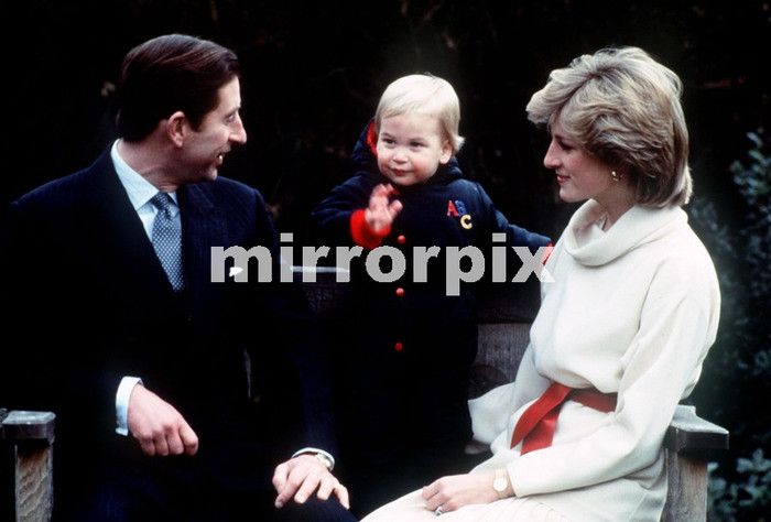 December 14, 1983: Prince Charles, Princess Diana with Prince William at a photocall in the garden of Kensington Palace.