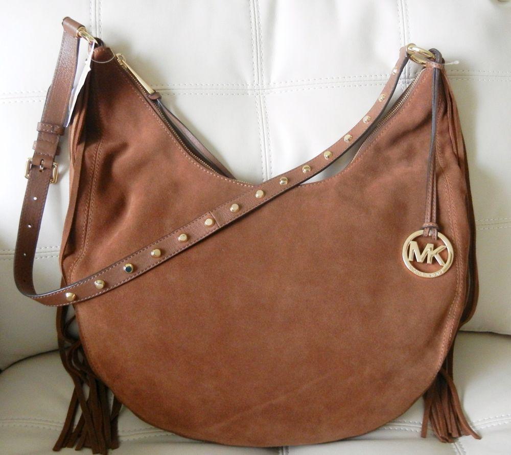 9071edff2174 New Michael Kors Rhea Large Slouchy Shoulder Leather Suede Handbag Dark  Caramel  MichaelKors  ShoulderBag