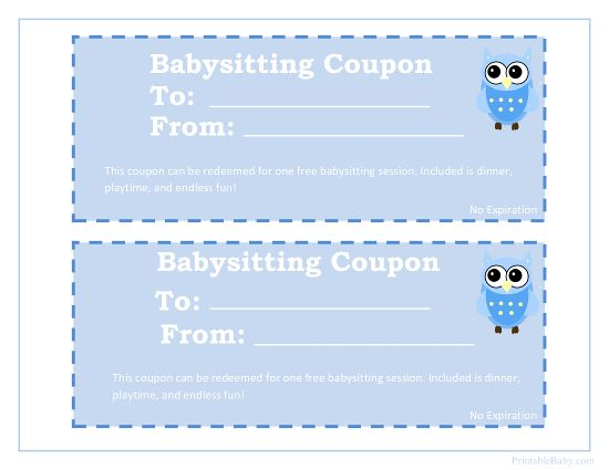 Printable Babysitting Coupon Gifts Babysitting, Free baby stuff
