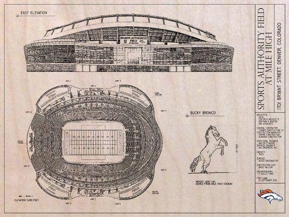 Denver broncos stadium blueprint on wood by colorwerks on etsy denver broncos stadium blueprint on wood by colorwerks on etsy malvernweather Gallery