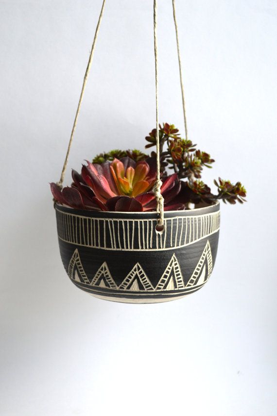 C L A S S I C T R I B A L Ceramic Hanging Planter Jardineras - Jardinera-colgante