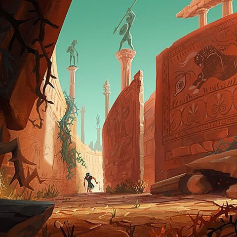 Closeup of the maze painting #greekmythology #maze #drawing  #painting #art #artist #digitalart #digitalpainting #visdev #visualdevelopment #conceptart #conceptdesign #featureanimation #inspiration #animation #illustration #MattCyrusArt