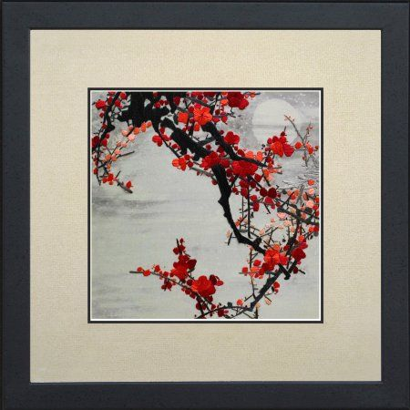 Handmade Embroidery Feng Shui Large Framed Red Winter Plum Blossoms Under A Full Moon Oriental Wall Hanging Art Asian Decoration Tapestry Artwork Picture ... & tapestry frame silk painting - Bing images | Masters of the painted ...