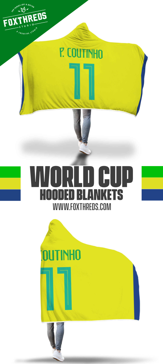 5be65e1e1 Philippe Coutinho Brazil Home Jersey 2018 Hooded Blanket - Copa Mundial World  Cup  coutinho