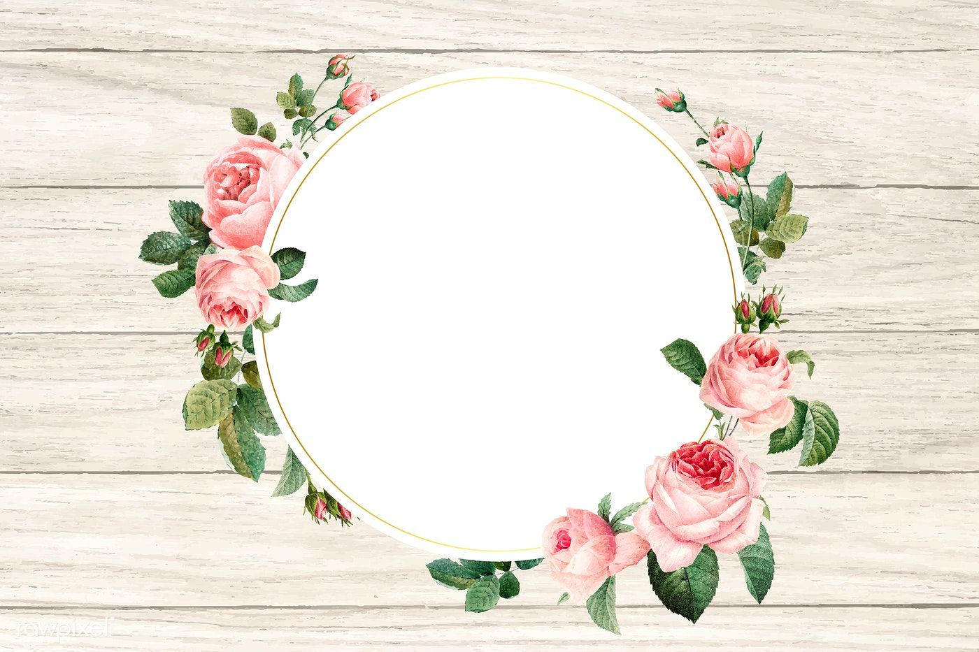 Download Premium Vector Of Floral Round Frame On A Wooden Background Flower Frame Flower Illustration Round Frame