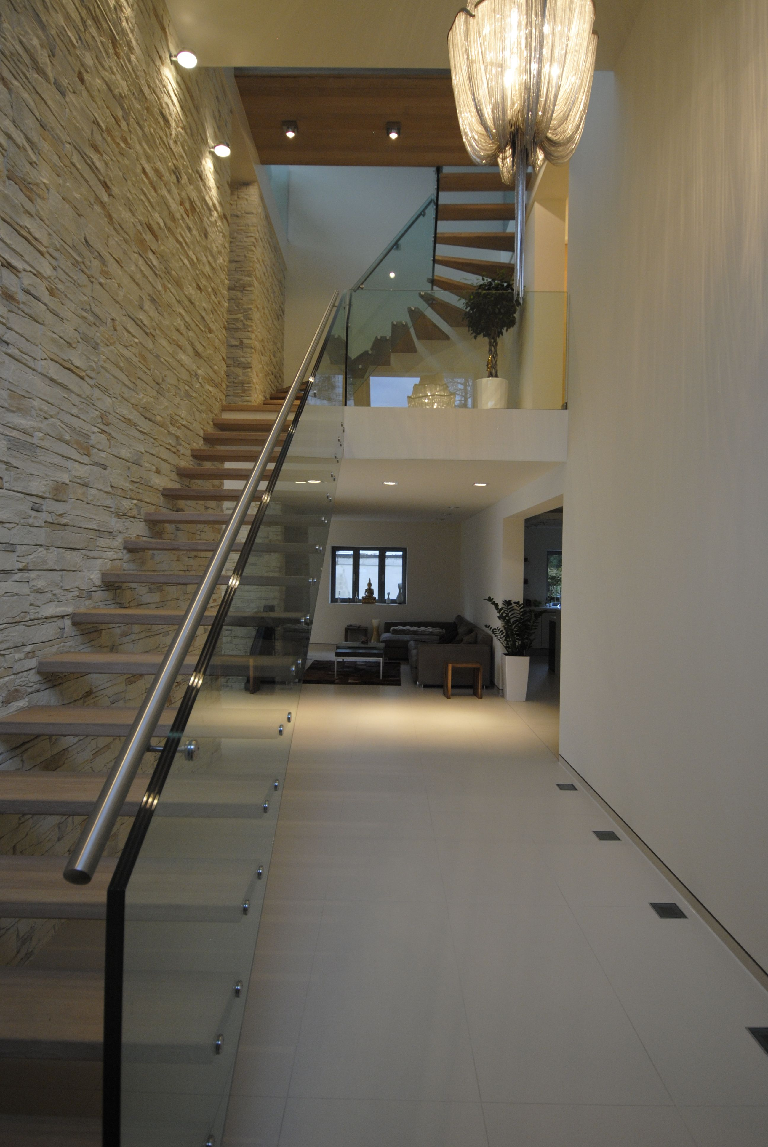 modern stair, glass railing in one piece www.stairs siller.com ...