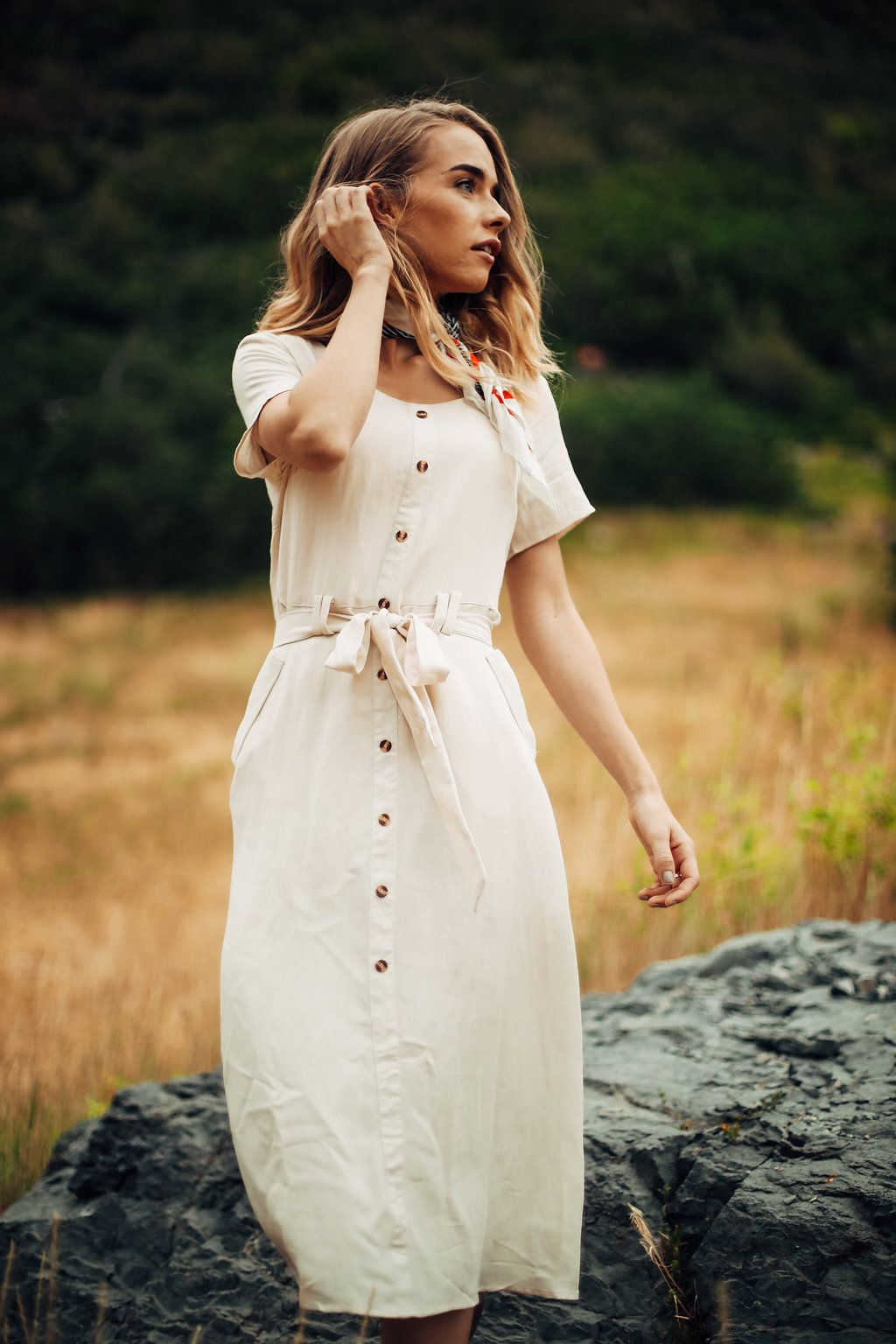 The marcus button down midi dress in oatmeal dress in woman