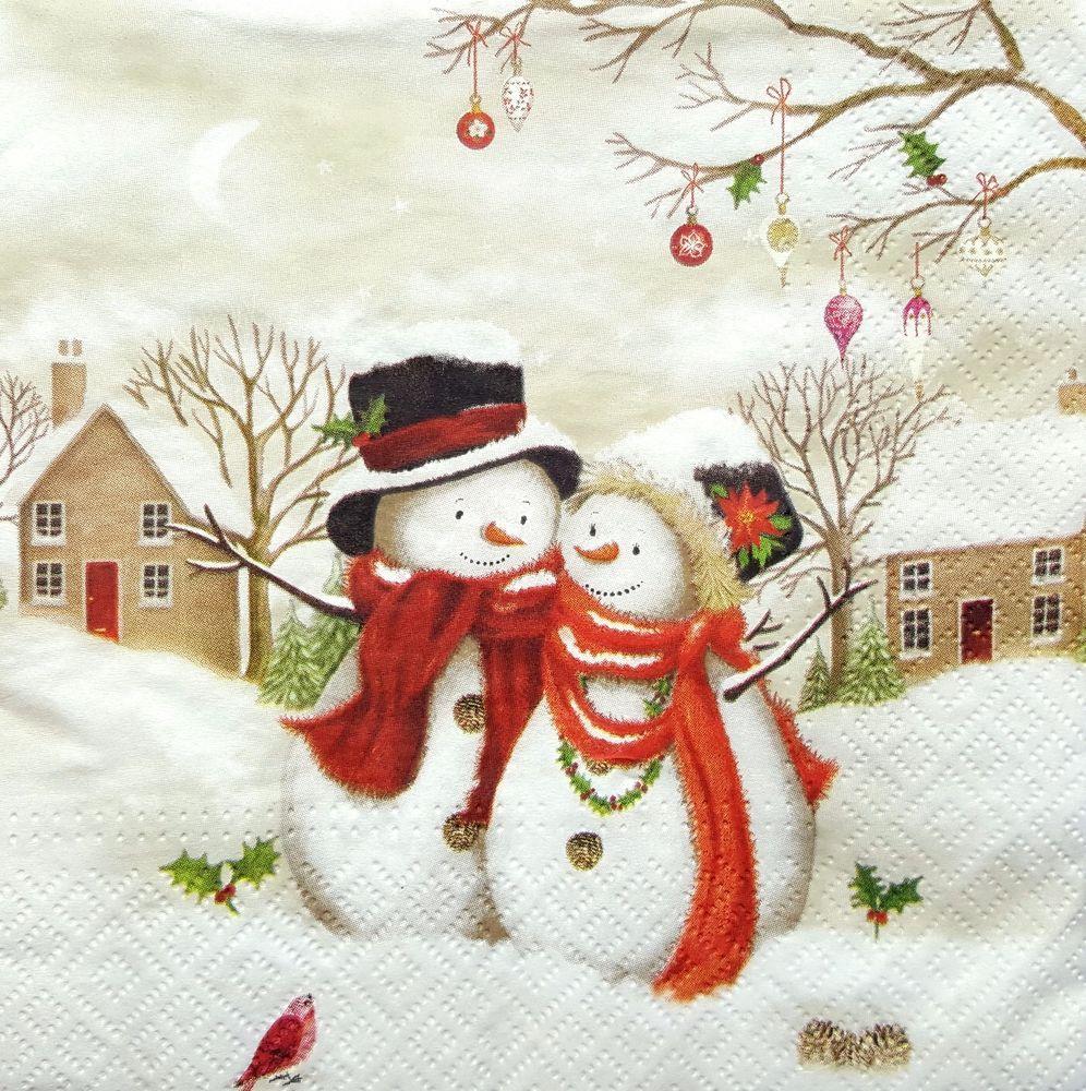 4 Single Lunch Paper Napkins for Decoupage Craft Snowmen