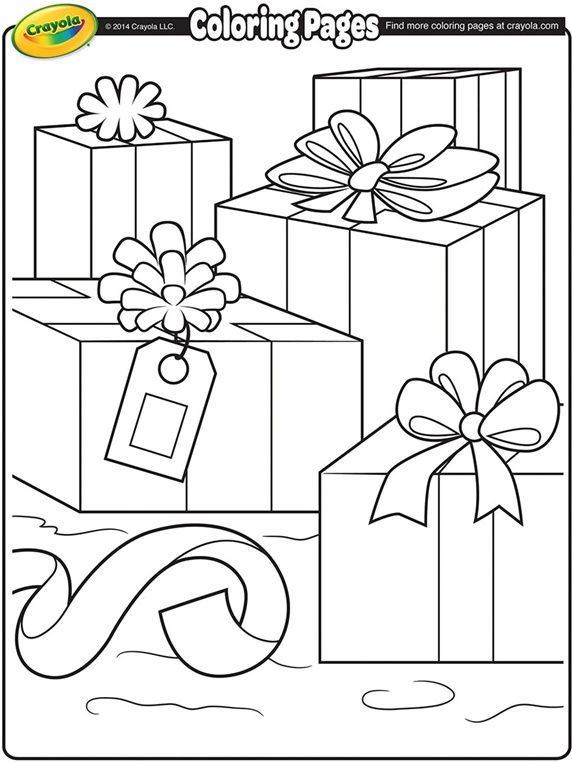 christmas packages coloring page crayola