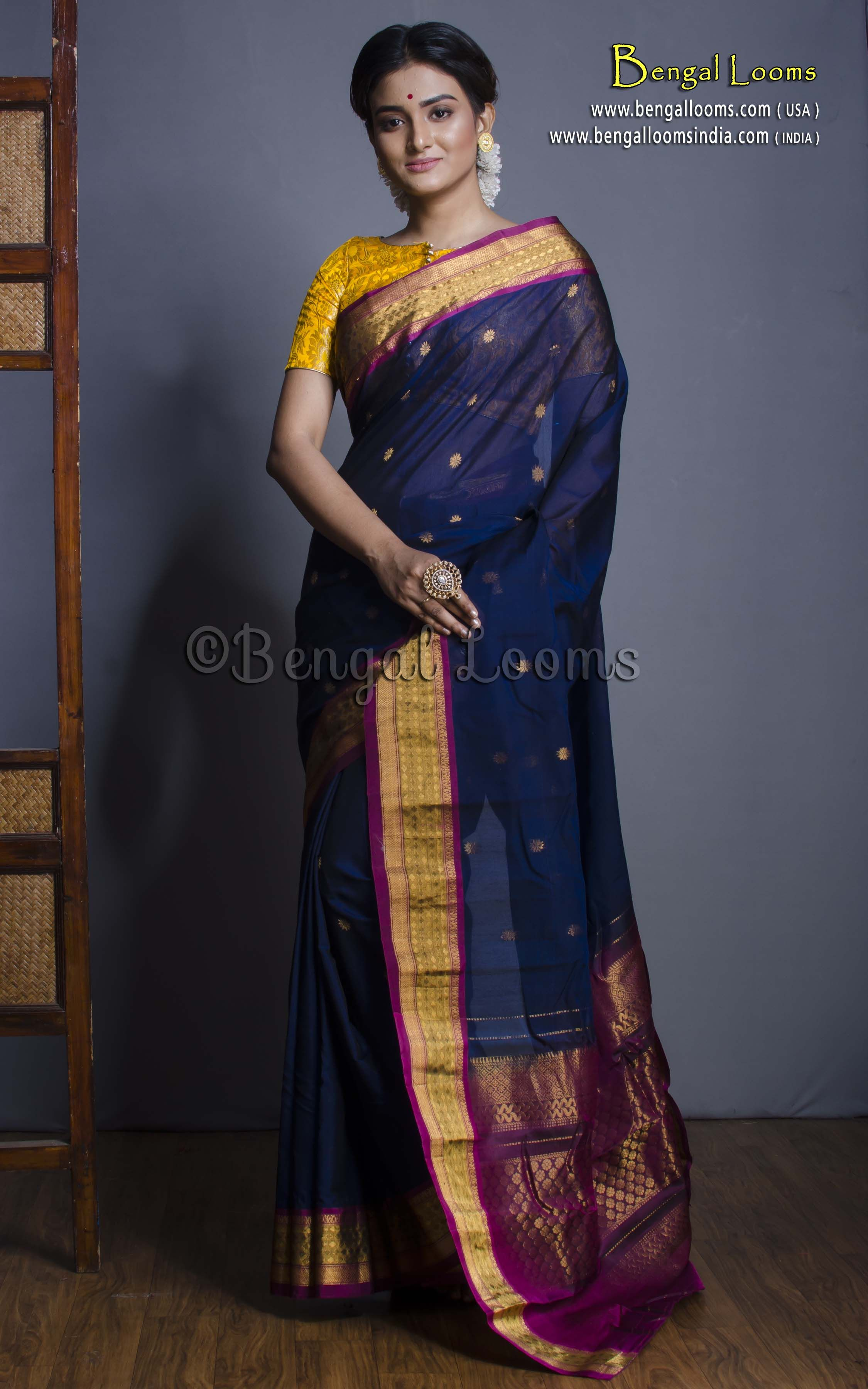 2e110048240c4a Pure Handloom Cotton Silk Gadwal Saree in Navy Blue and Purple ...