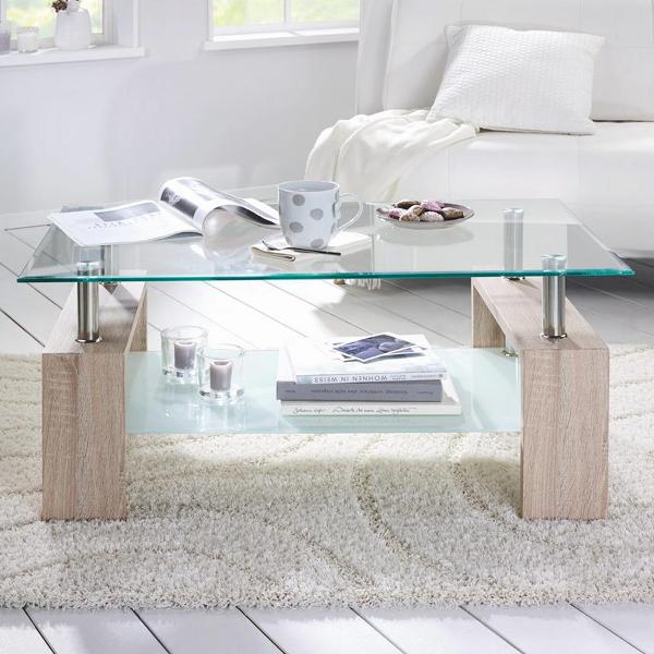 Couchtisch Silvia In Eiche Sonoma Dekor Mit Tischplatte Aus Glas Couchtisch Couchtisch Modern Dekor