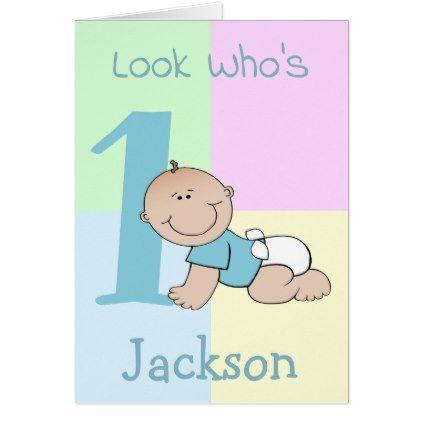 Cute cartoon baby boy 1st birthday card bookmarktalkfo Image collections