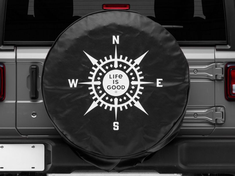 Life Is Good Lig Compass Spare Tire Cover Night Black 87 20 Jeep Wrangler Yj Tj Jk Jl Jeep Accessories Jeep Tire Cover Cool Jeep Accessories