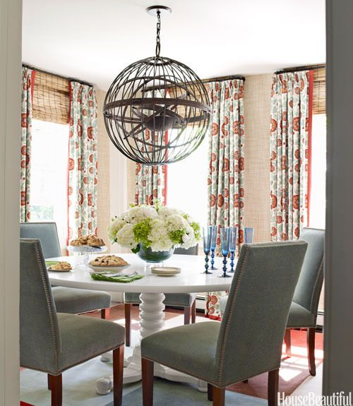 Gary Mcbournie S Nantucket Beach Cottage: Casual/elegant. Print Drapes With Bamboo Shades. Painted