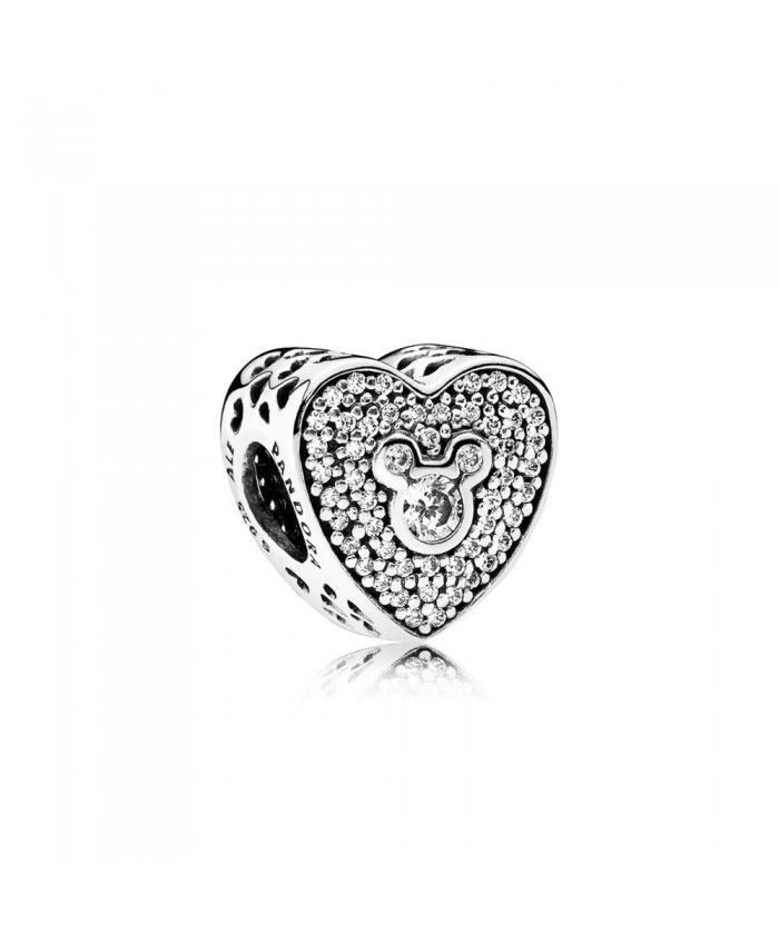 c158235f1 PANDORA Disney Mickey Minnie Heart Silver With Clear Cubic Zirconia Charm  Sale Clearance Using a very