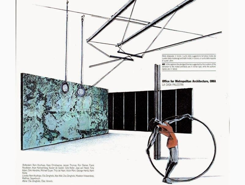 Arqueología del Futuro: 1986 LA CASA PALESTRA BENDING BARCELONA PAVILION [OMA] Koolhaas presented the interior spaces of his project as contemporary living rooms where everyday object mix with aspirations for the future