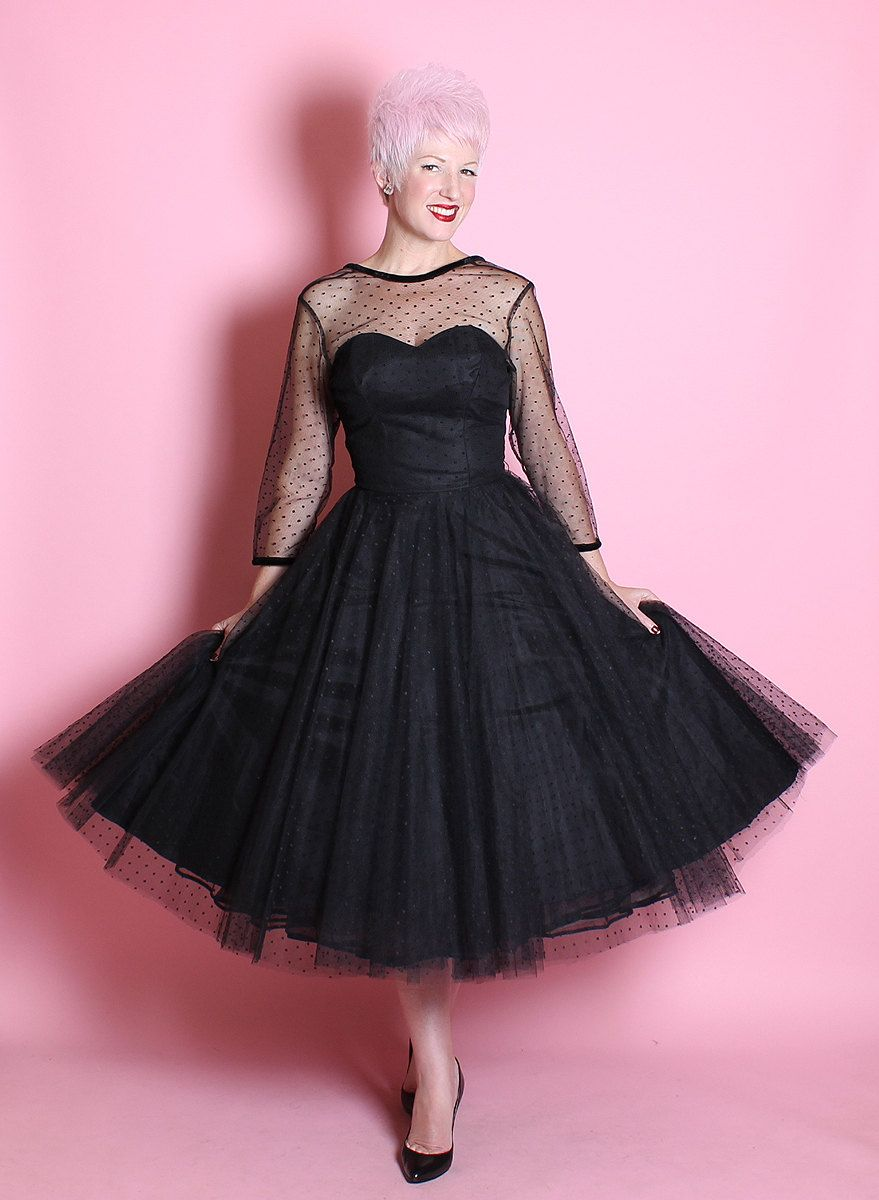 GORGEOUS 1950\'s New Look Inky Black Sheer Tulle w/ Tiny Velvet Polka ...