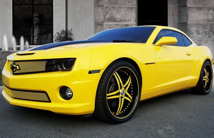Yellow Chevy Camaro With Custom Grille And Rims Wallpaper Chevy