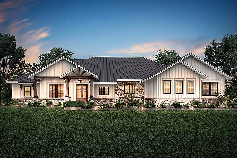 Ranch Style House Plan 51987 With 4 Bed 4 Bath 3 Car Garage Farmhouse Style House Farmhouse Style House Plans Ranch Style House Plans