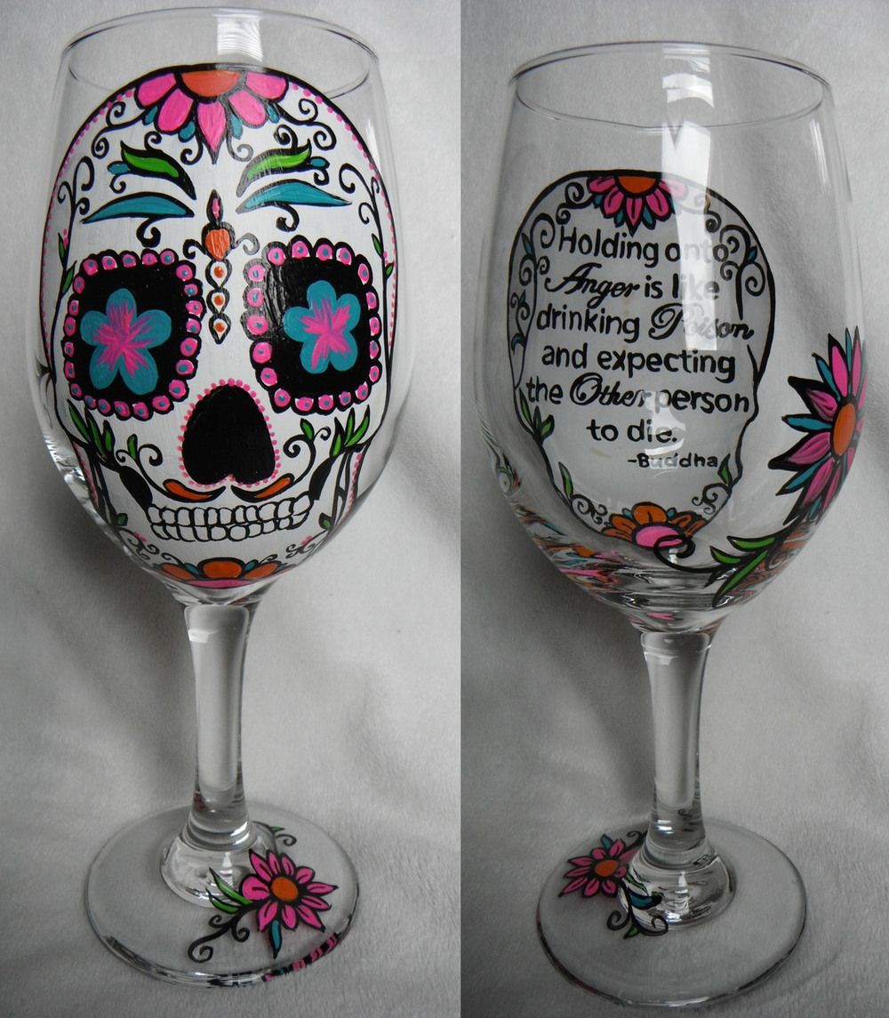 Glass Painting Hand painted wine glass, Painted wine